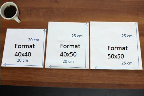 Les tailles de serviettes en papier